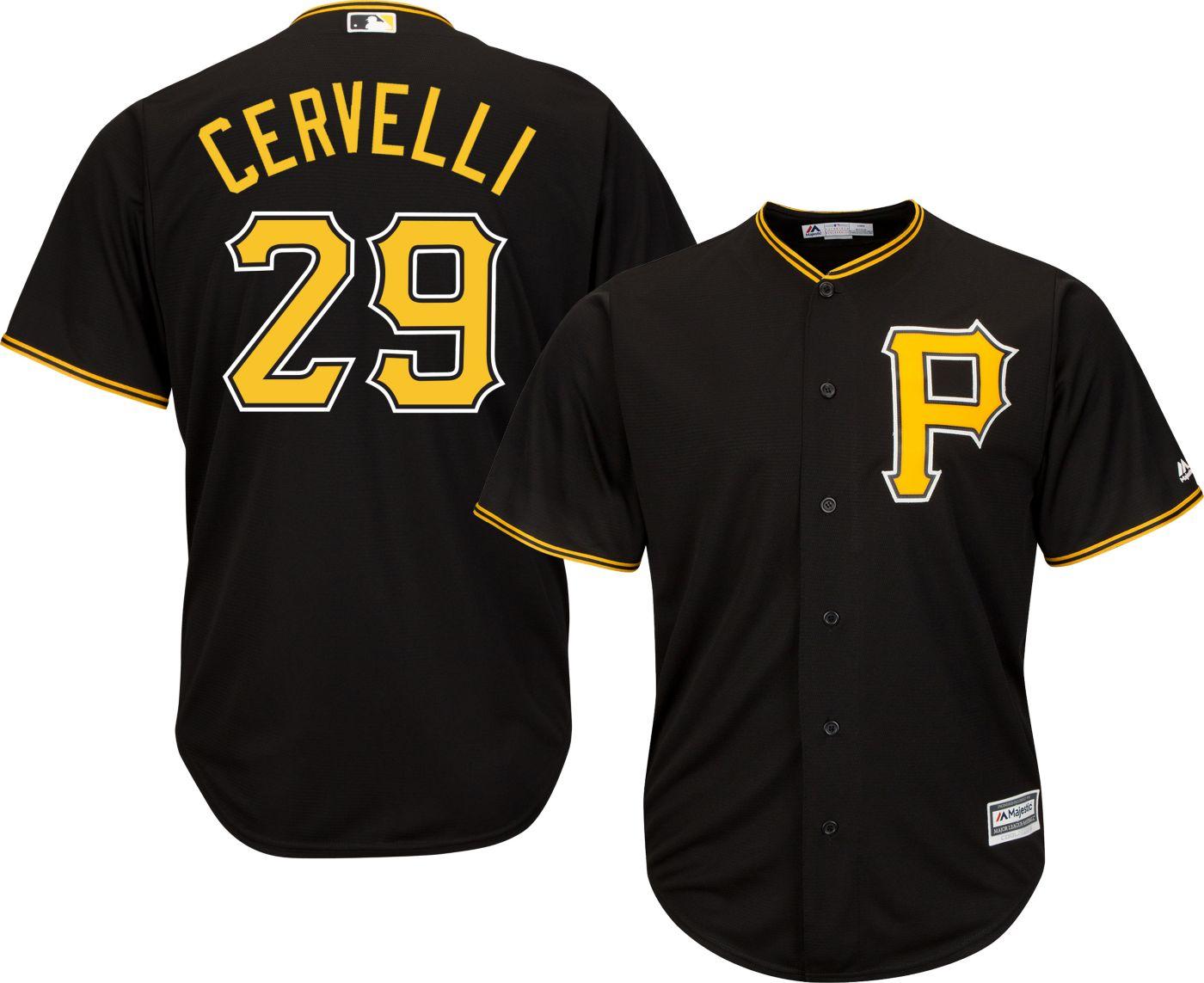 Majestic Men's Replica Pittsburgh Pirates Francisco Cervelli #29 Cool Base Alternate Black Jersey