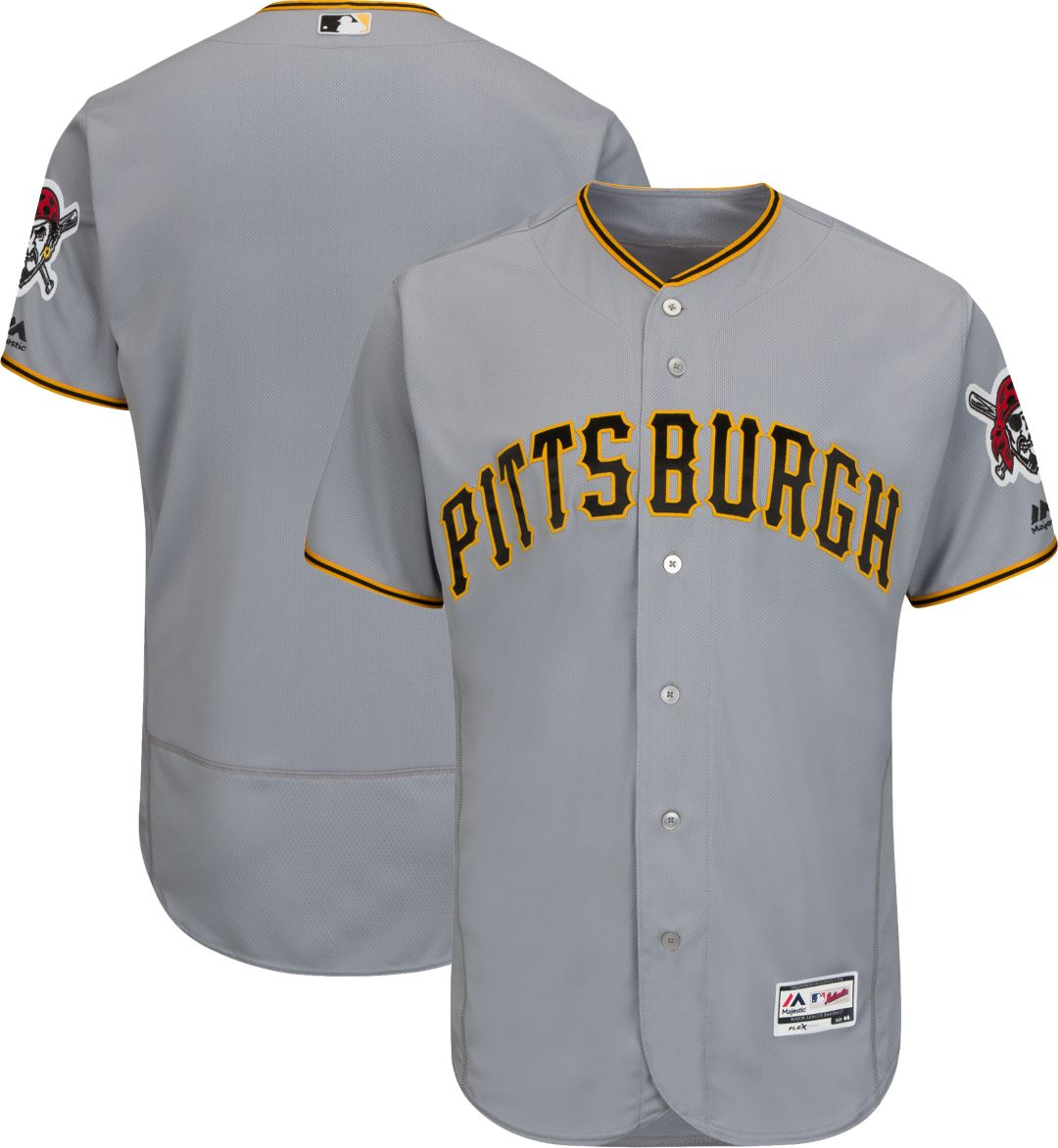 best website 5be60 bd504 Majestic Men's Authentic Pittsburgh Pirates Road Grey Flex Base On-Field  Jersey