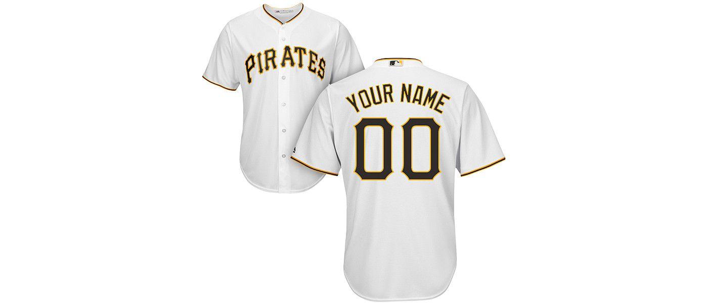 Majestic Men's Custom Cool Base Replica Pittsburgh Pirates Home White Jersey