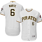 Majestic Men's Authentic Pittsburgh Pirates Starling Marte #6 Home White Flex Base On-Field Jersey