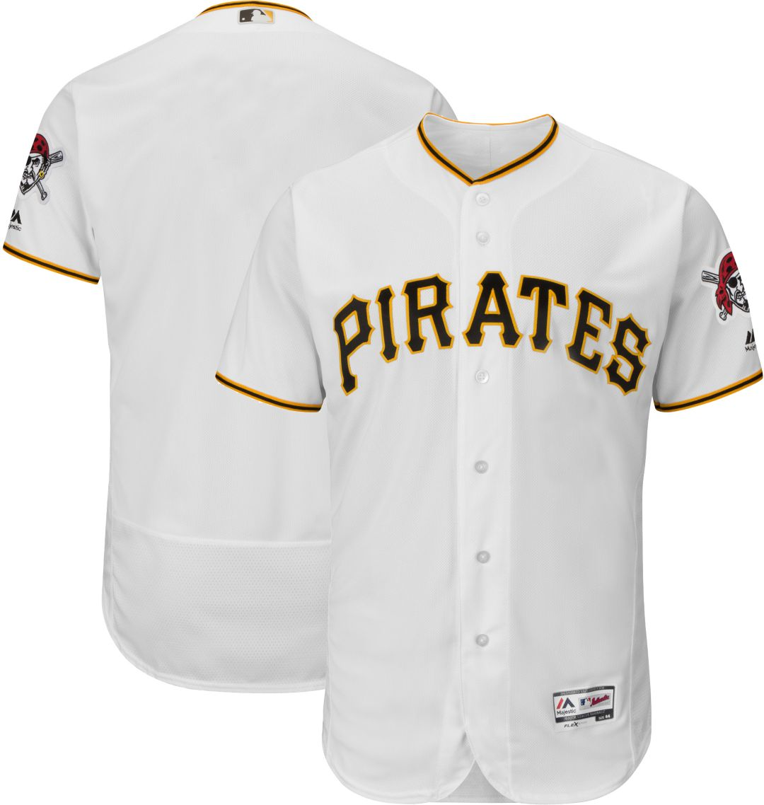 the best attitude 540a4 b5367 Majestic Men's Authentic Pittsburgh Pirates Home White Flex Base On-Field  Jersey