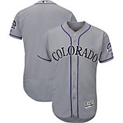 Majestic Men's Authentic Colorado Rockies Flex Base Road Grey On-Field Jersey