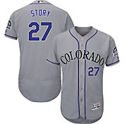 Majestic Men's Authentic Colorado Rockies Trevor Story #27 Flex Base Road Grey On-Field Jersey