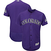 Majestic Men's Authentic Colorado Rockies Flex Base Alternate Purple On-Field Jersey