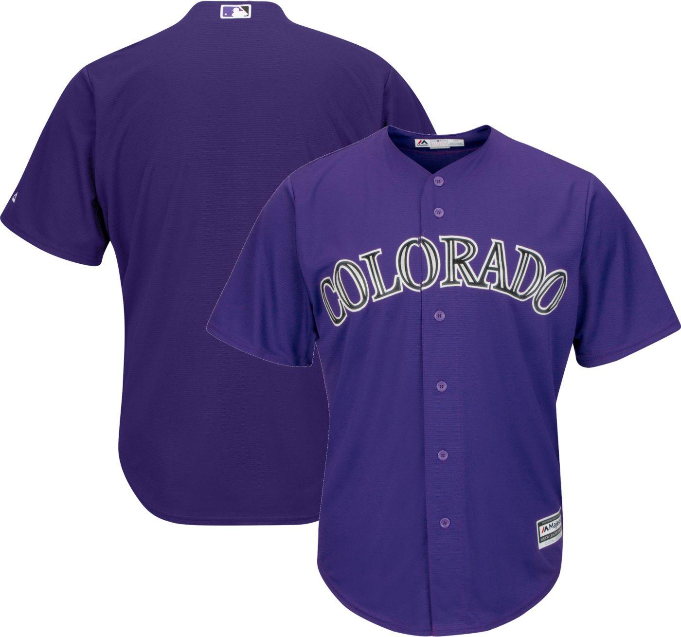 Majestic Men's Replica Colorado Rockies Cool Base Alternate Purple Jersey