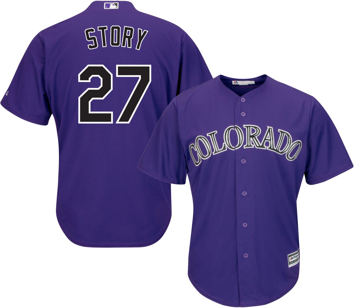 Majestic Men's Replica Colorado Rockies Trevor Story #27 Cool Base Alternate Purple Jersey
