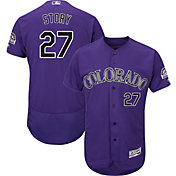 Majestic Men's Authentic Colorado Rockies Trevor Story #27 Flex Base Alternate Purple On-Field Jersey