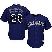 Majestic Men's Replica Colorado Rockies Nolan Arenado #28 Cool Base Alternate Purple Jersey