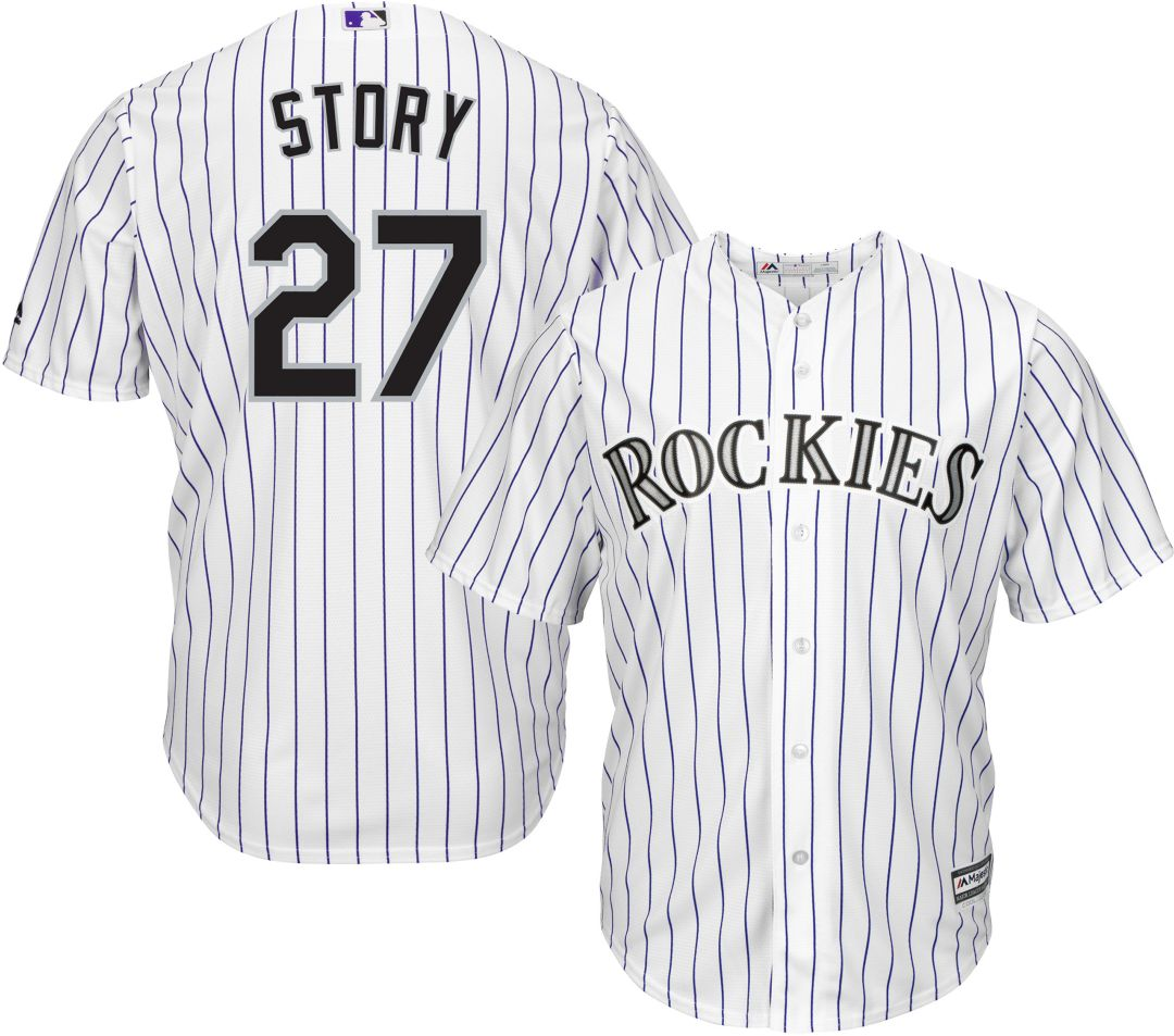 quality design 23d02 a012d Majestic Men's Replica Colorado Rockies Trevor Story #11 Cool Base Home  White Jersey