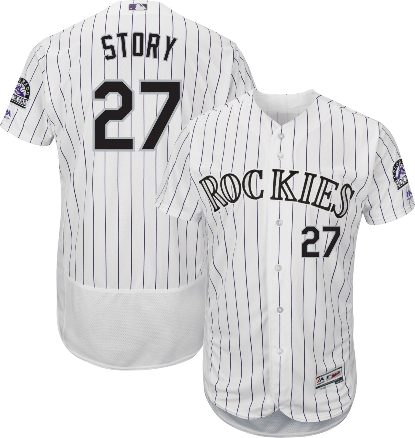 Majestic Men's Authentic Colorado Rockies Trevor Story #27 Flex Base Home White On-Field Jersey
