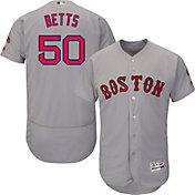 Majestic Men's Authentic Boston Red Sox Mookie Betts #50 Road Grey Flex Base On-Field Jersey