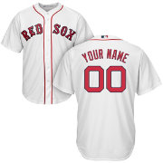 Majestic Men's Custom Cool Base Replica Boston Red Sox Home White Jersey