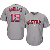 Majestic Men's Replica Boston Red Sox Hanley Ramirez #13 Cool Base Road Grey Jersey