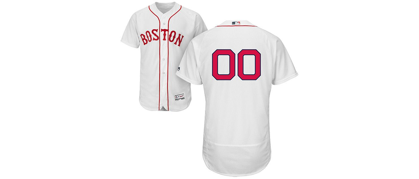 Majestic Men's Custom Authentic Boston Red Sox Flex Base Home White On-Field Jersey
