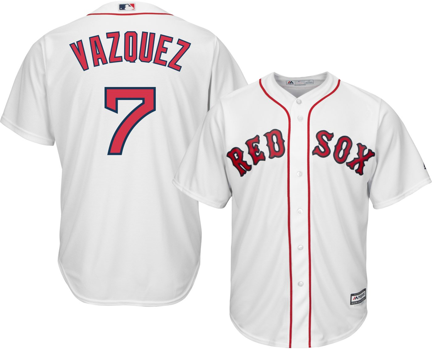 Majestic Men's Replica Boston Red Sox Christian Vasquez #7 Cool Base Home White Jersey