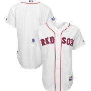 Majestic Men's Authentic Boston Red Sox Cool Base Home White On-Field Jersey w/ World Series Champions Patch