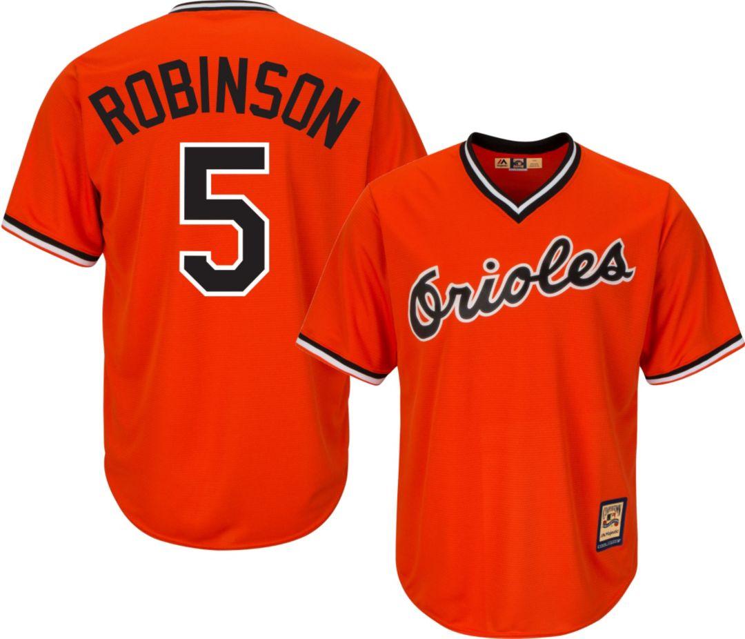 90baf4a5adb Majestic Men's Replica Baltimore Orioles Brooks Robinson Cool Base Orange  Cooperstown Jersey 1