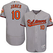 Majestic Men's Authentic Baltimore Orioles Adam Jones #10 Road Grey Flex Base On-Field Jersey