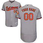 Majestic Men's Custom Authentic Baltimore Orioles Flex Base Road Grey On-Field Jersey