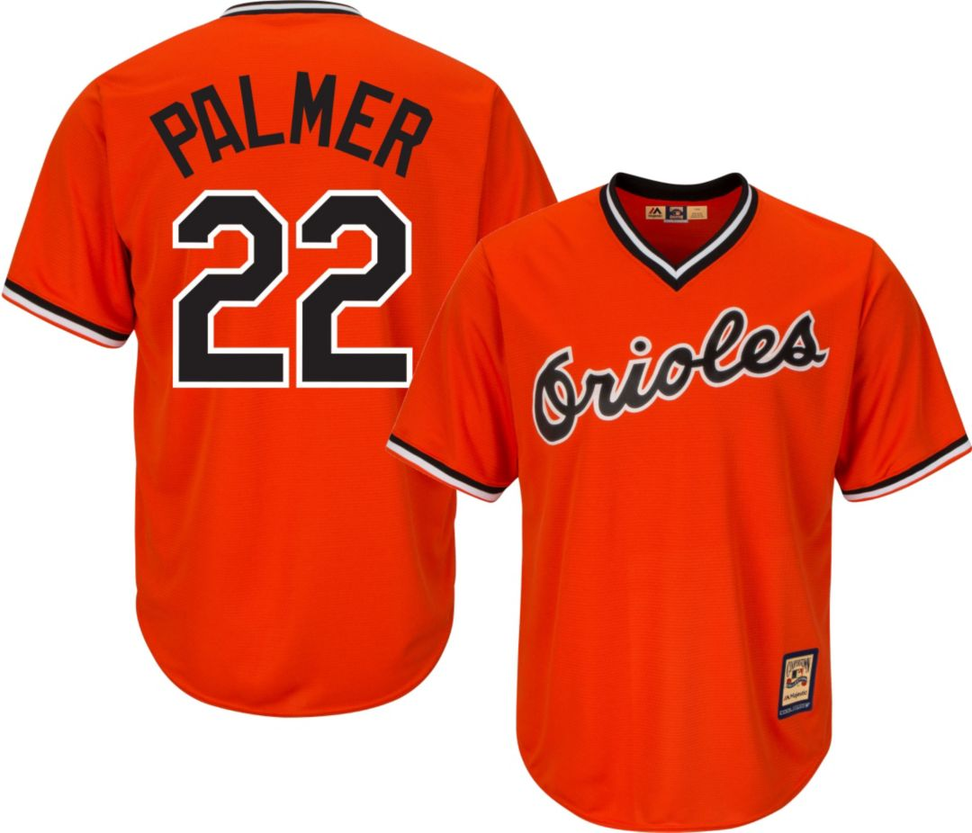 new styles 56651 a495f Majestic Men's Replica Baltimore Orioles Jim Palmer Cool Base Orange  Cooperstown Jersey