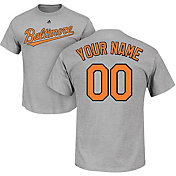 Majestic Men's Custom Baltimore Orioles Grey T-Shirt