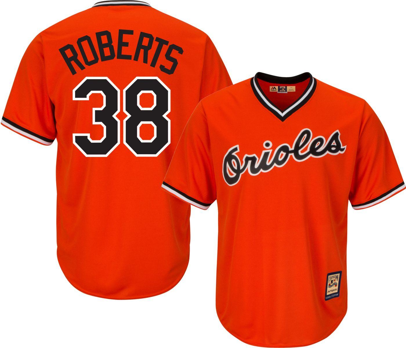 Majestic Men's Replica Baltimore Orioles Robin Roberts Cool Base Orange Cooperstown Jersey