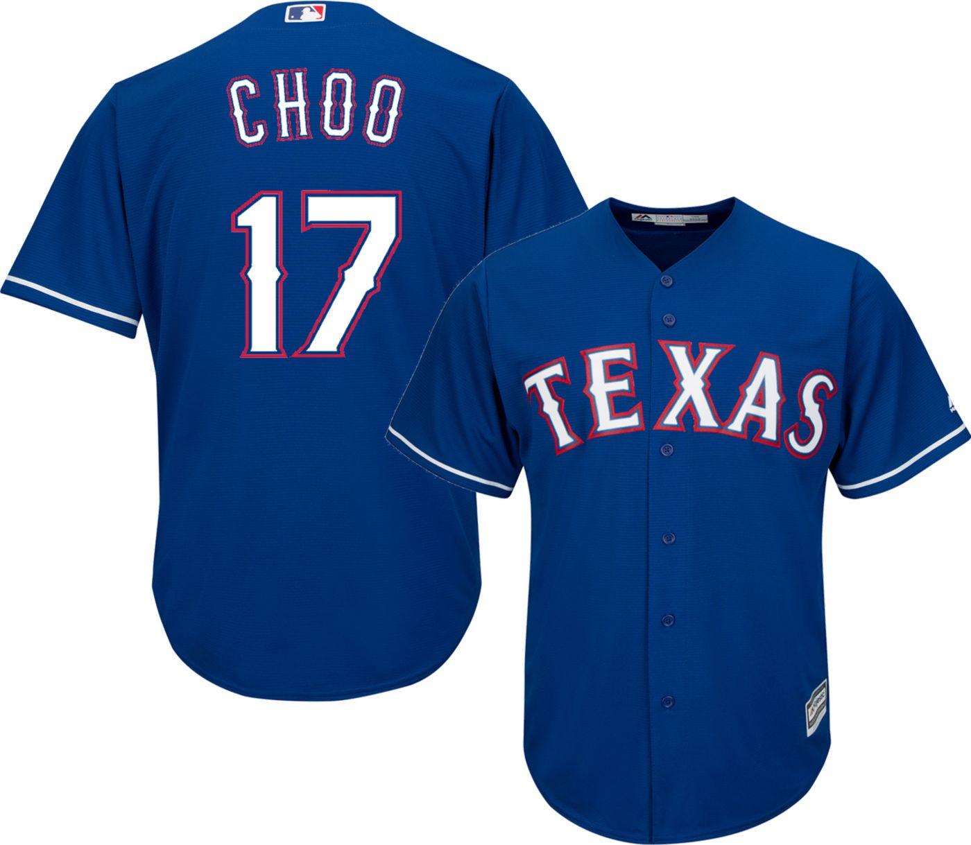 Majestic Men's Replica Texas Rangers Shin-Soo Choo #17 Cool Base Alternate Royal Jersey