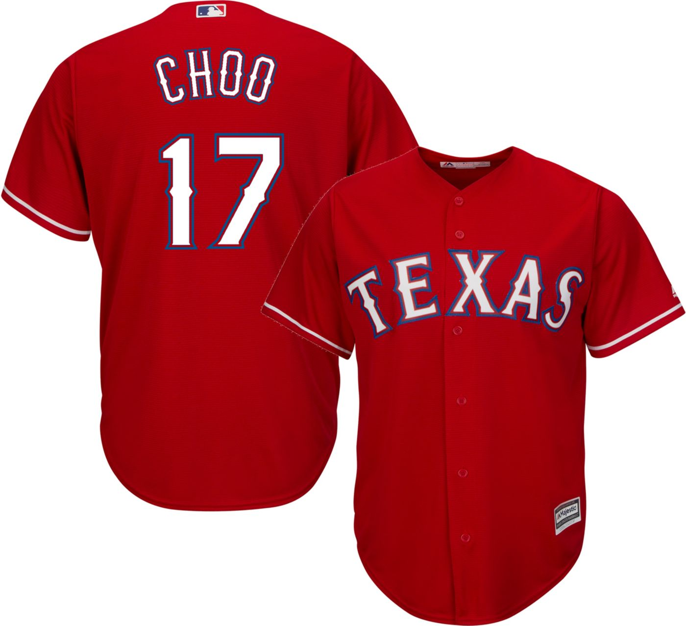 Majestic Men's Replica Texas Rangers Shin-Soo Choo #17 Cool Base Alternate Red Jersey