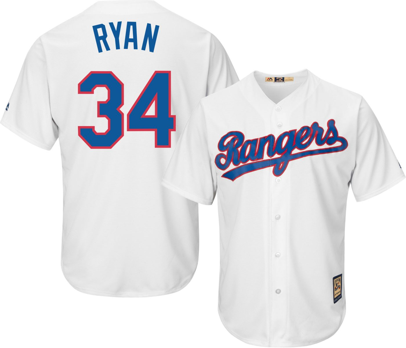 Majestic Men's Replica Texas Rangers Nolan Ryan Cool Base White Cooperstown Jersey