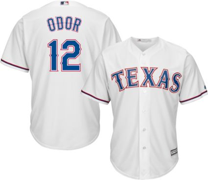 75b3d497 Majestic Men's Replica Texas Rangers Rougned Odor #12 Cool Base Home White  Jersey
