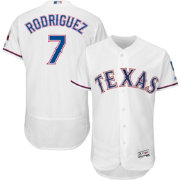 Majestic Men's Authentic Texas Rangers Ivan Rodriguez #7 Home White Flex Base On-Field Jersey
