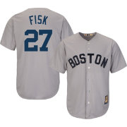 Majestic Men's Replica Boston Red Sox Carlton Fisk Cool Base Grey Cooperstown Jersey