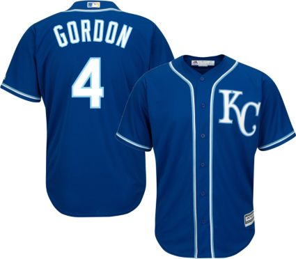 c45c1750795 Majestic Men s Replica Kansas City Royals Alex Gordon  4 Cool Base  Alternate Royal Jersey