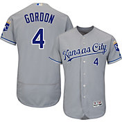 Majestic Men's Authentic Kansas City Royals Alex Gordon #4 Road Grey Flex Base On-Field Jersey