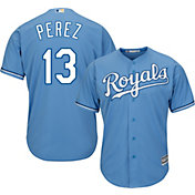 Majestic Men's Replica Kansas City Royals Salvador Perez #13 Cool Base Alternate Light Blue Jersey