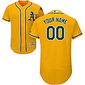 Majestic Men's Custom Authentic Oakland Athletics Flex Base Alternate Gold On-Field Jersey