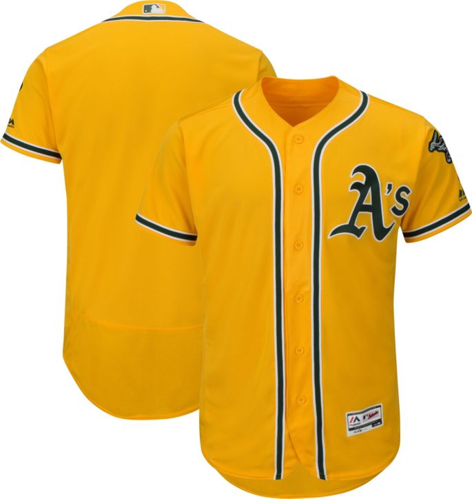 official photos aeaa0 a4fd6 Majestic Men's Authentic Oakland Athletics Alternate Gold Flex Base  On-Field Jersey