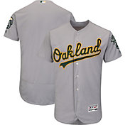Majestic Men's Authentic Oakland Athletics Road Grey Flex Base On-Field Jersey