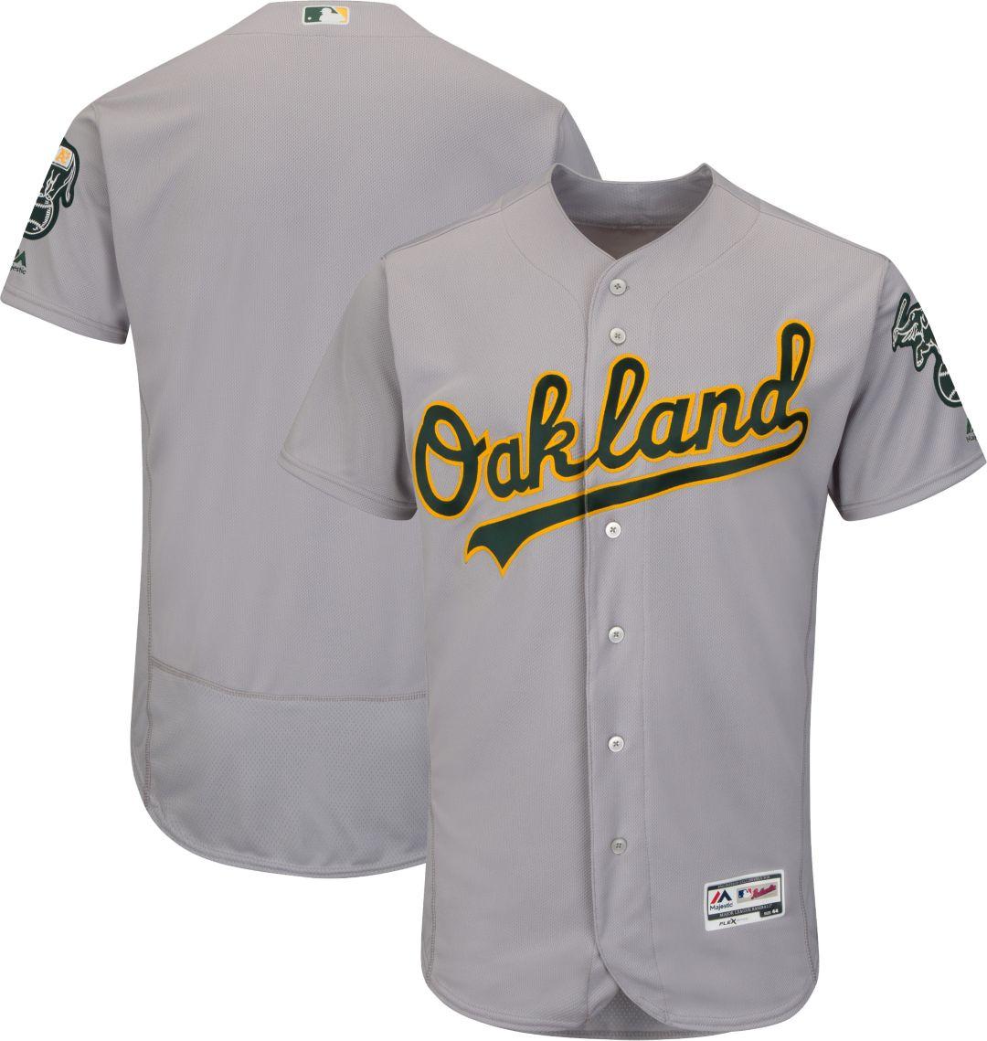 san francisco 2acd0 c95dd Majestic Men's Authentic Oakland Athletics Road Grey Flex Base On-Field  Jersey