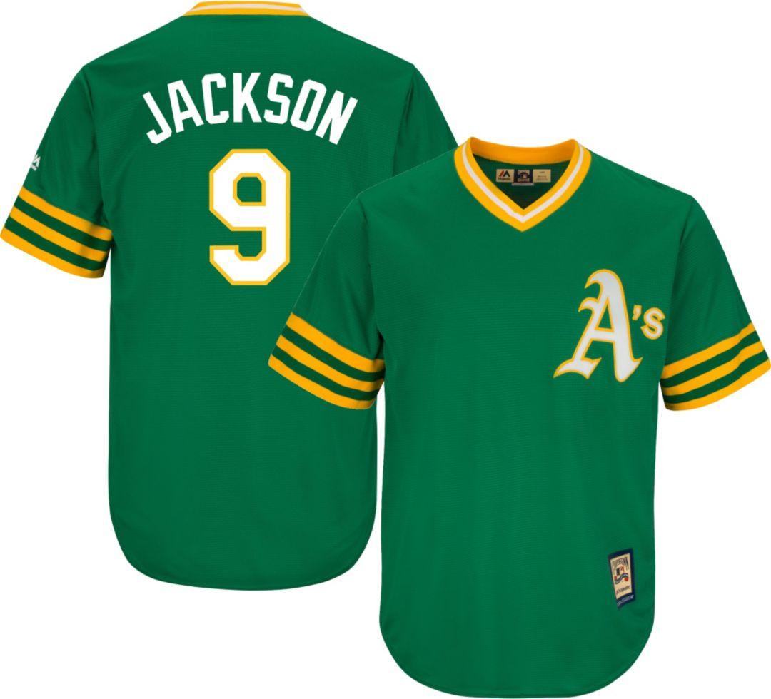 meet e9366 e22f7 Majestic Men's Replica Oakland Athletics Reggie Jackson Cool Base Green  Cooperstown Jersey
