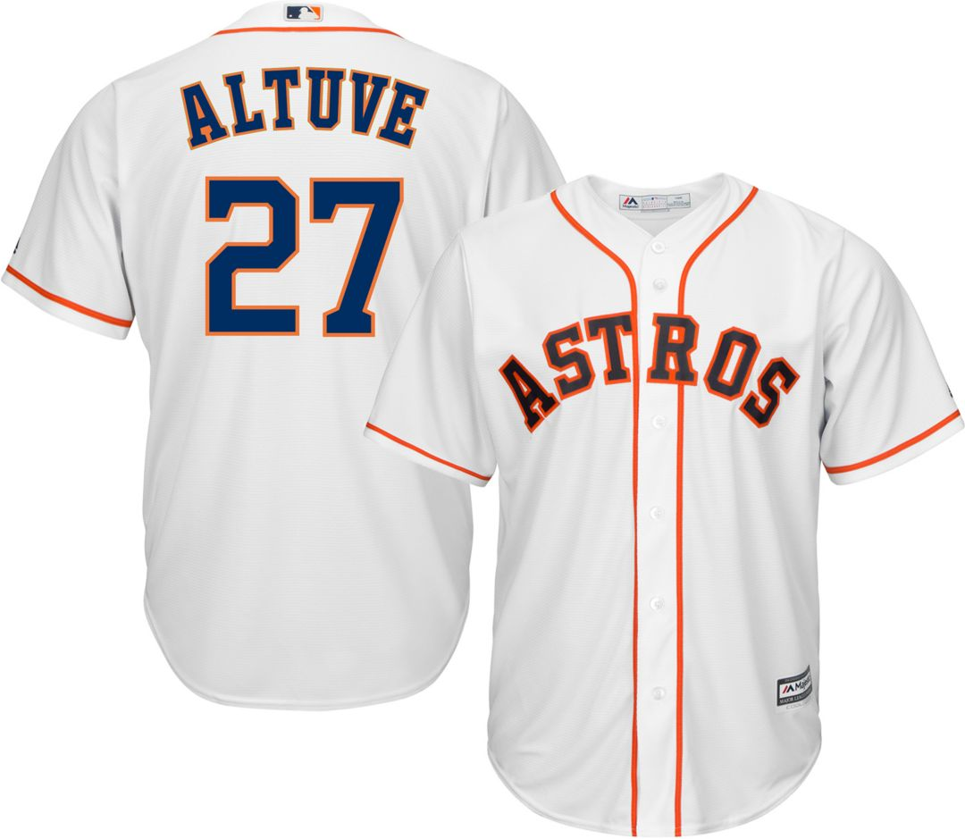 newest a125a b6be0 Majestic Men's Replica Houston Astros Jose Altuve #27 Cool Base Home White  Jersey