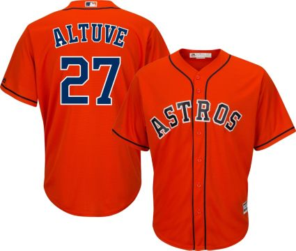 1eb5a00cb Majestic Men's Replica Houston Astros Jose Altuve #27 Cool Base Alternate  Orange Jersey
