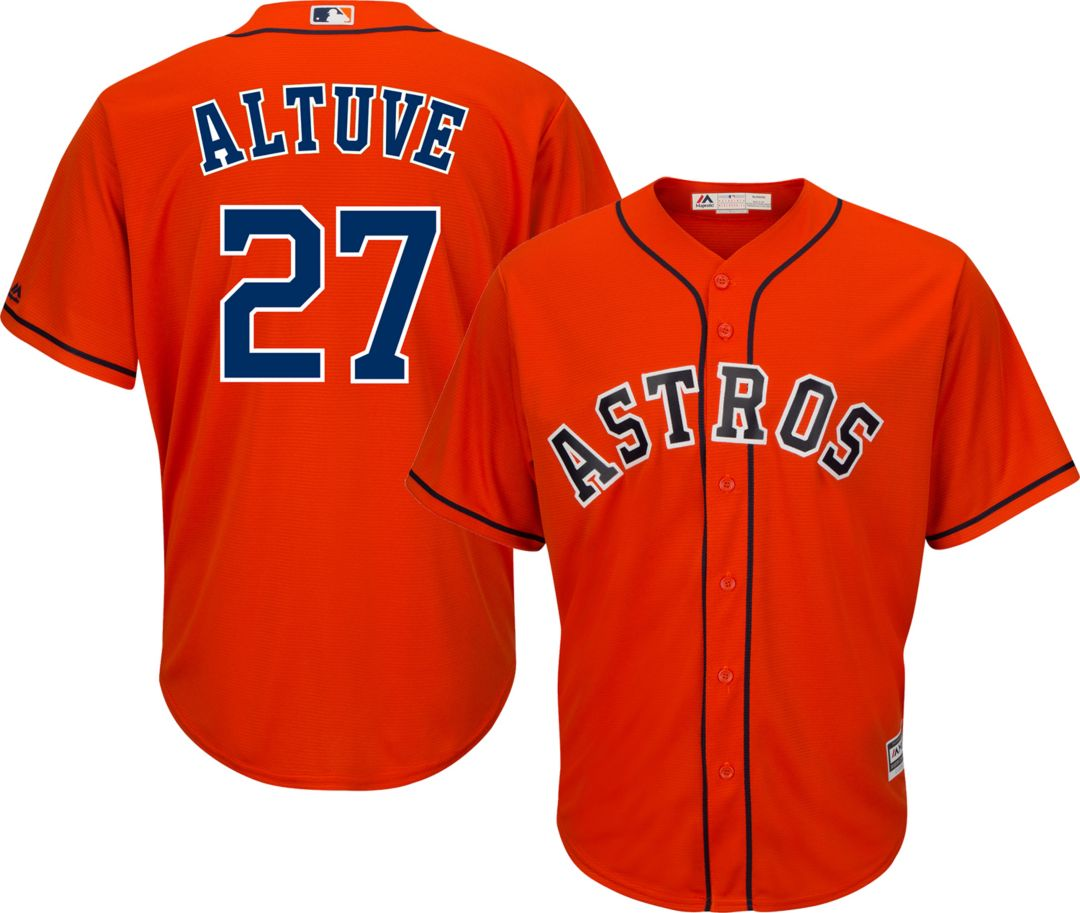 super popular 7d411 ff1c9 Majestic Men's Replica Houston Astros Jose Altuve #27 Cool Base Alternate  Orange Jersey
