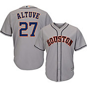 Majestic Men's Replica Houston Astros Jose Altuve #27 Cool Base Road Grey Jersey