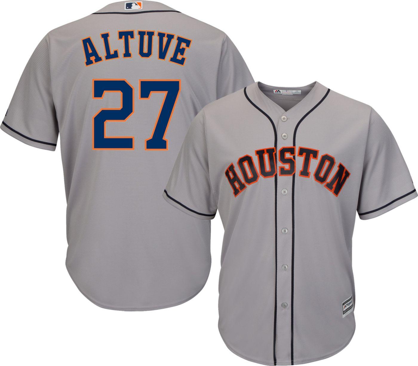 Majestic Men's Replica Houston Astros Jose Altuve #27 Cool Base Road Grey Jersey