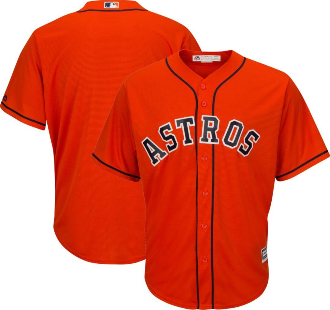 online store 0860f 08b8f Majestic Men's Replica Houston Astros Cool Base Alternate Orange Jersey
