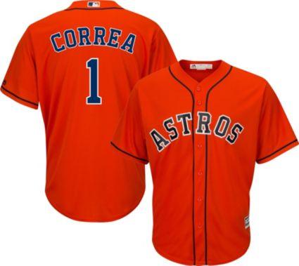 15e2176cc Majestic Men s Replica Houston Astros Carlos Correa  1 Cool Base Alternate  Orange Jersey. noImageFound