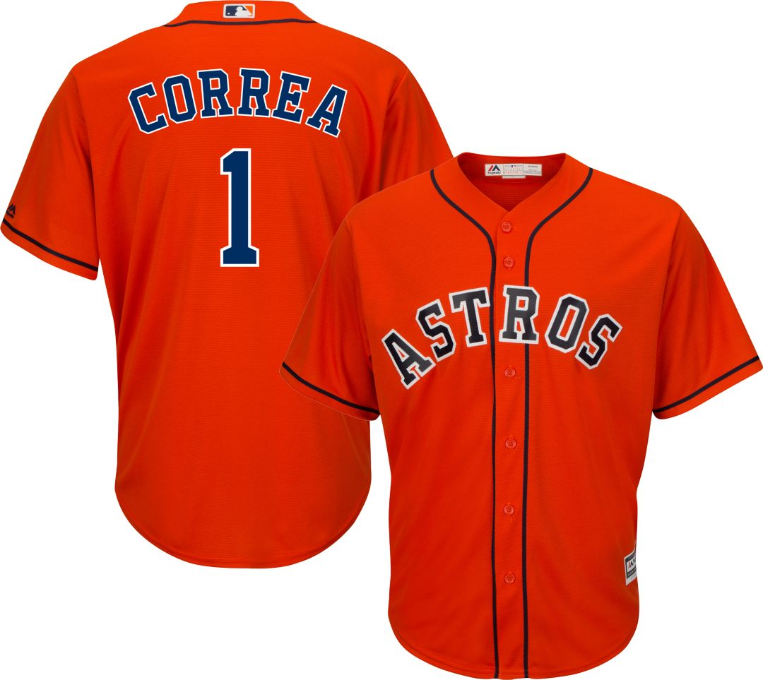 wholesale dealer 693df a104a Majestic Men's Replica Houston Astros Carlos Correa #1 Cool Base Alternate  Orange Jersey