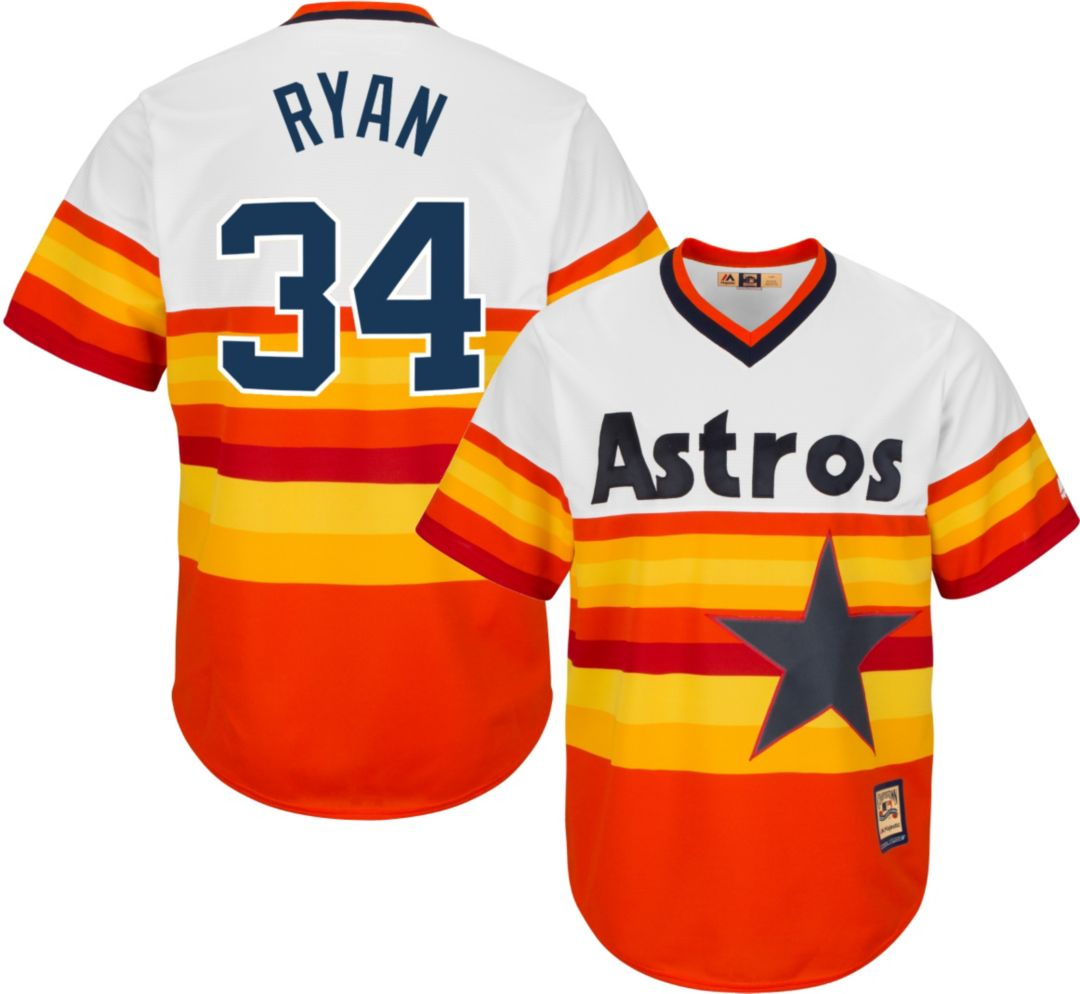 classic 642ff 6dd65 Majestic Men's Replica Houston Astros Nolan Ryan Cool Base Rainbow  Cooperstown Jersey