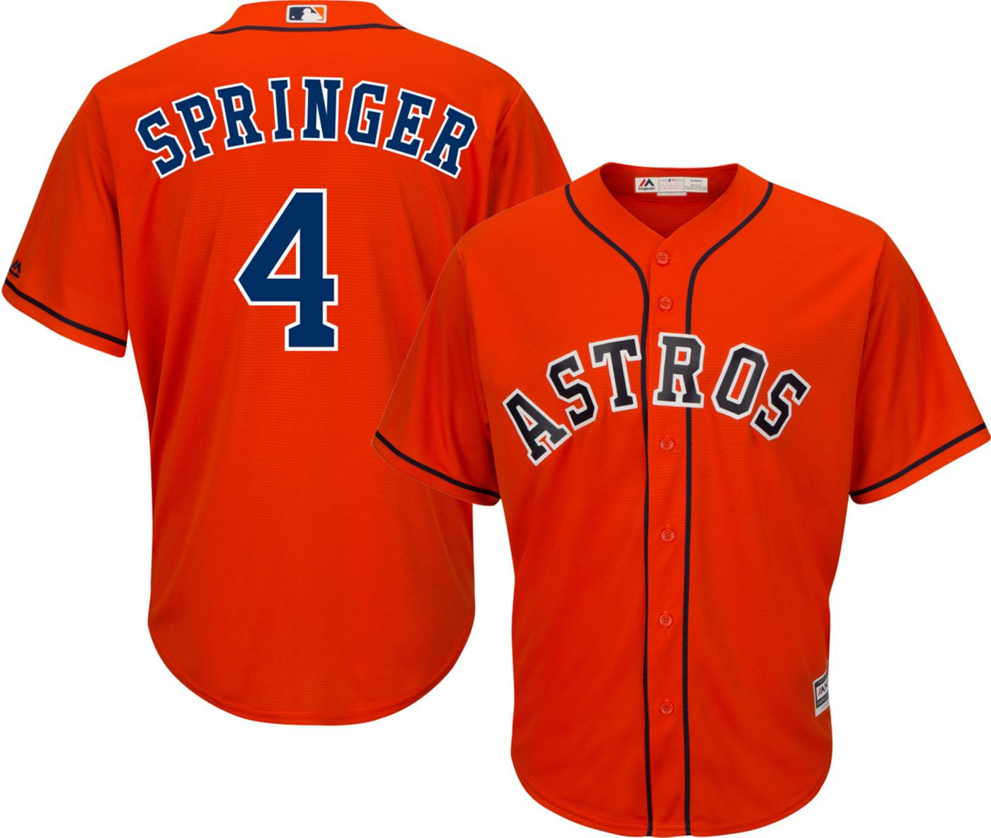 Majestic Men's Replica Houston Astros George Springer #4 Cool Base Alternate Orange Jersey